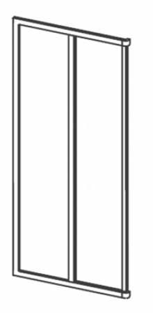 Produktbild: Eckeinstiegshälfte Kunstglas Breite 70 cm x Höhe1850 cm Profile weiss